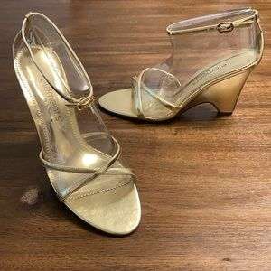 ELEMENTS BY NINA Gold Strappy Wedge Sandals
